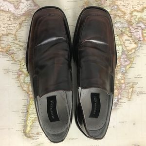 Kenneth Cole Brown Leather Slip-on Loafers